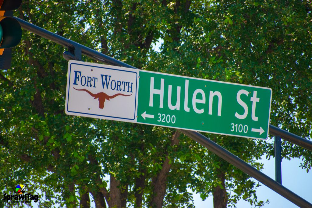 Hulen street sign in Fort Worth Texas