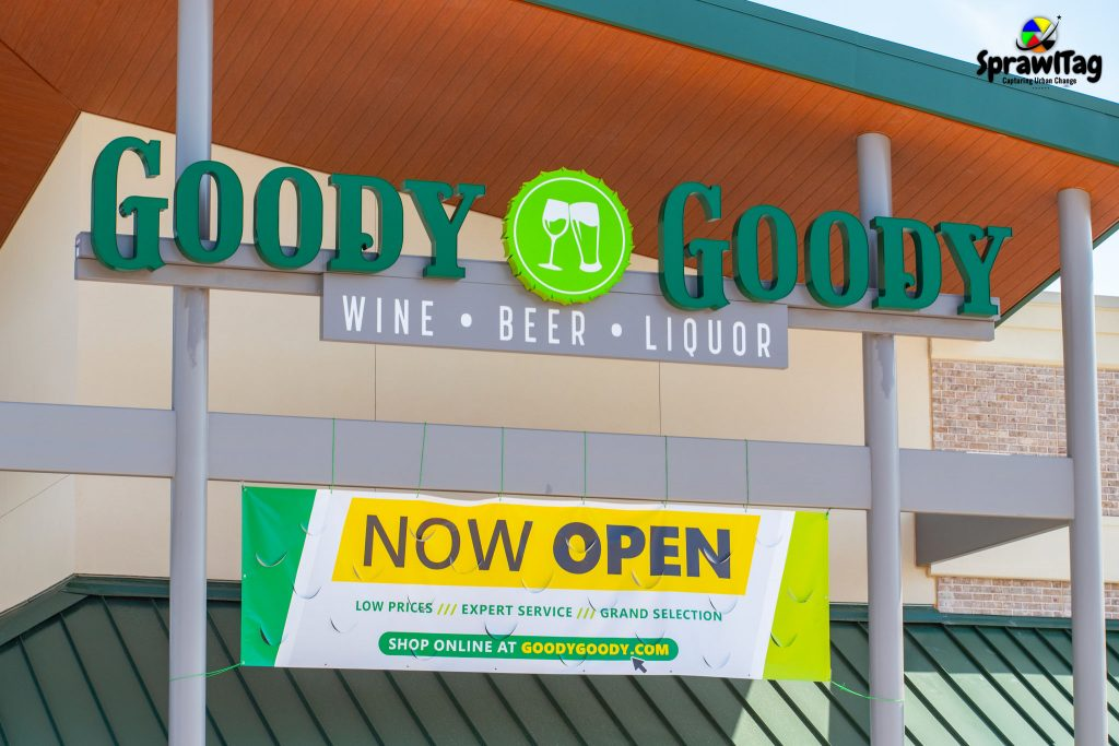 Goody Goody now open sign in Bedford Texas